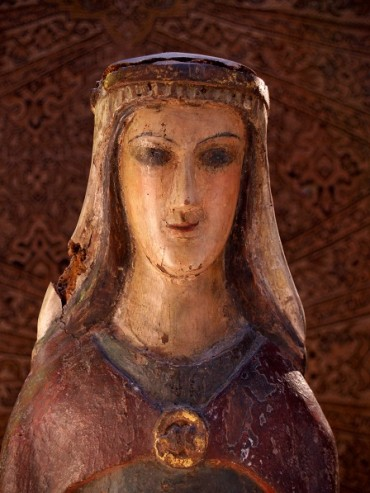 Medieval wooden statue of St Anne, Loughrea Museum.